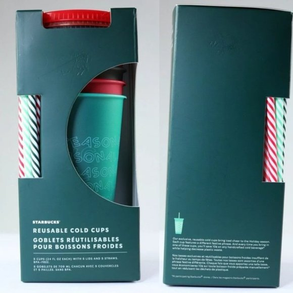 Starbucks Holiday Reusable Cold Cups Set of 5